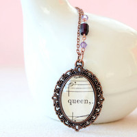Victorian inspired sheet music necklace with dainty pink and purple glass beads.  One of a kind valentines day gift for her