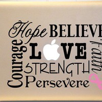 Macbook Decal Breast Cancer Vinyl Decal Subway Art for Laptop or iPad