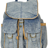 Blue Acid Wash Backpack - Backpacks - Bags &amp; Purses  - Accessories