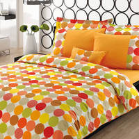 Custom Queen Size Pumpkin Orange Yellow Green Grey Polka Dots Print Bedding Set