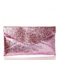 Pink Glitter Envelope Clutch Bag with Button Flap Closure