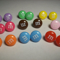 M&M candy chocolate earring studs.