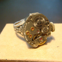 Steampunk  Vintage Benrus Watch Movement Ring with Exposed Gears (923)