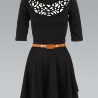 Black Belted Skater Dress with Laser Cutout Neckline