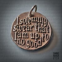Harry Potter swear... Gold Inspirational Words in Solid Silver Pendant, Necklace, Cell Phone Charm, Keychain, Tag, Weddings, Custom Quote