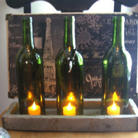 Three Repurposed Wine Bottles into Tea Light by unwinedmyrtlebeach