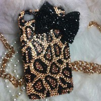 3D Handmade Bling Diamond crystal pearl iphone 4 4S case cover leopard Bow E06