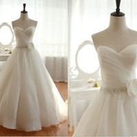 Vintage Organza Wedding Dress Bridal Gown Strapless by wonderxue