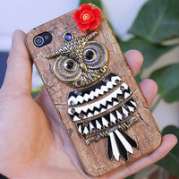 Antique Brass Cute Owl and Red Resin Flower Hard Case by moonboat