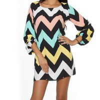 Amazon.com: Womens Juniors Outfits Multi Mint Purple Chevron Zig-Zag Print Cuff Long Sleeve Zipper Back Mini Dress: Clothing