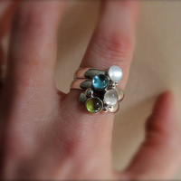 Birthstone Ring. Fairy Tale Ring. Sterling Silver Colorful Stones. Mother's Ring. Family ring. Grandma. Sisters. Friends. Customize