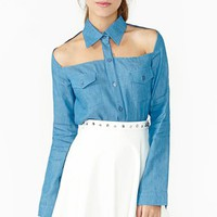 Chambray Cutout Shirt
