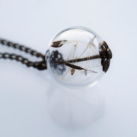Mini Dandelion Necklace 01 Make A Wish Glass Bead Orb Bronze Necklace Botanical  Globe Beadwork