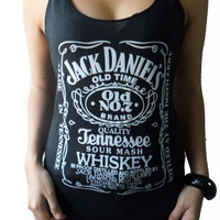 Jack Daniel's Whiskey Black  T-shirt Very Thin Cotton Tank Women's Tops Vest S M
