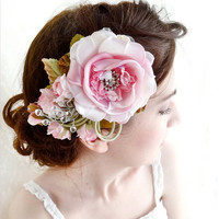 pink silk bridal flower - FANTASIA - hair clip w/ rhinestones and crystals