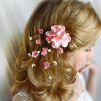 cherry blossom hair accessories - SAKURA - pink bridal flower hair clip