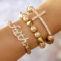 Set of 3 Rose Gold Bracelets