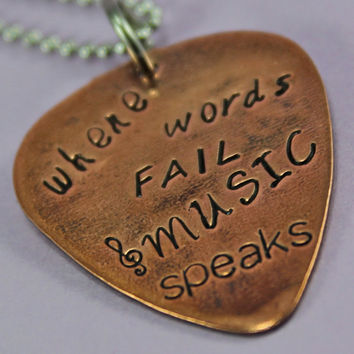 Where Words Fail Music Speaks Copper Guitar Pick Handstamped necklace - Custom Hand Stamped necklace