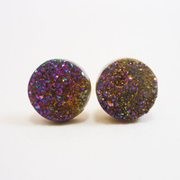 Rainbow Flame Druzy Stud Earrings n47 by AstralEYE on Etsy