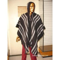 Black Striped Wool Poncho with Hood HandWoven Unisex | Ethnic Clothing:Wool Ponchos | EcuadorianHands.com
