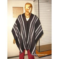 Black Striped Wool Poncho with V Neck HandWoven Unisex | Ethnic Clothing:Wool Ponchos | EcuadorianHands.com