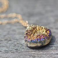 Druzy Heart Briolette Pendant Necklace 14K Gold by daimblond