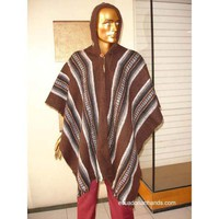 Brown Striped Wool Poncho with Hood HandWoven Unisex | Ethnic Clothing:Wool Ponchos | EcuadorianHands.com