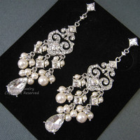 Chandelier Bridal Earrings, E0022, Ivory Pearl Bridal Earrings, Wedding Earrings, Pearls and Crystals Earrings, Vintage Style Earrings