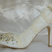 Something OLD Something NEW  ..Wedding Shoes....vintage lace, crystals and pearls.. As Seen in Brides Magazine.. UK
