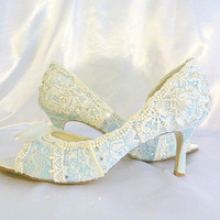 Something Blue ..mid heel...baby blue lacey wedding shoes...peep toes...Swarovski crystals and pearls