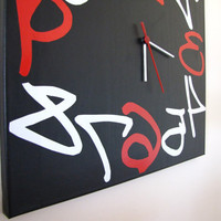 Black red white Reverse Original Modern Wall Clock by TikTakThings