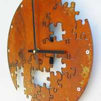 Puzzle Clock V Rusted by All15Designs on Etsy