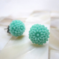 Sea foam green mini mum earrings NICKEL FREE by LazyOwlBoutique