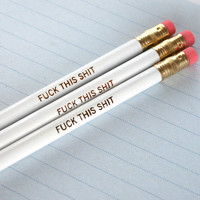 MATURE swear pencils three 3 white pencils by thecarboncrusader
