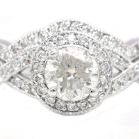 Round cut diamond engagement ring and band 175ctw by KNRINC