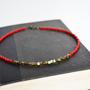 Seed Bead RED Necklace. Square Bead with Seed Beads. Bold Red Sleek Minimal Geometric Necklace. Valentine Necklace