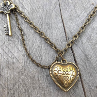 REVERSIBLE Valentine Necklace - Antiqued Brass Oblique Heart & Key Pendant with Double Drop Cable Link Chain