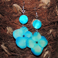 Real flower Earrings. Hydrangea jewelry. Turquoise dangle earrings. Gift for her. Eco friendly jewelry. Dried Hydrangea jewelry.