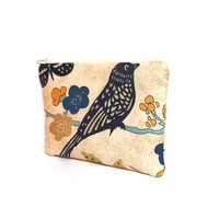 Cosmetic Pouch Zipper Pouch Make Up Bag Gift  Toiletry Bag  Blue Bird and Gold