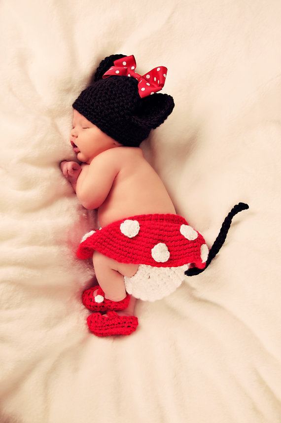 Minnie Mouse hat with Red Bow Diaper Cover and Shoes