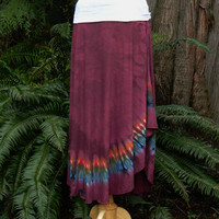 2Dye4 Hand Dyed XL Woman's Long Tie Dye Skirt