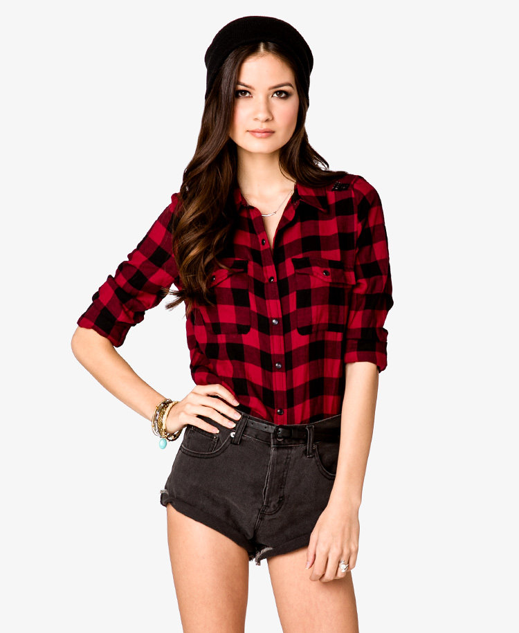 Buffalo Plaid Sequined Shirt from Forever 21