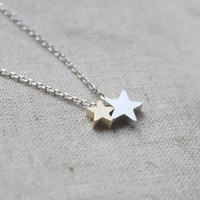 Cute Two Star charm Necklace  S22061 by Ringostone on Etsy