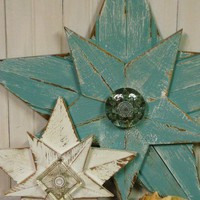 Shabby Chic Giant Aqua Beach Star - 34 Inches - Recycled Wood Wall Star with Vintage Glass