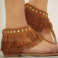 Brown Tan Fringe Ankle Sandals Flat Gold Studded Suede Indian Summer Fashion