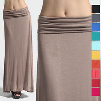 MOGAN Colored Plain Draped JERSEY MAXI LONG SKIRT Sleek Compy Casual Evening NEW