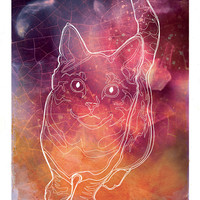 Cat Constellation starry space galaxy custom horoscope - Limited Edition Print