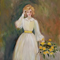 Print of Lady with the Yellow Bouquet by by JBeaudetStudios