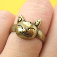 SALE - Small Kitty Cat Animal Ring in Bronze Size 5.5 ONLY