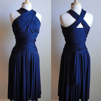 Convertible Infinity Wrap Dress in Navy by RestorationThreads